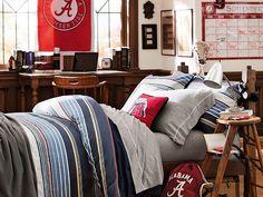 Hudson Stripe Duvet Cover + Sham Collegiate Needlepoint Pillow Guys Room 703 pbteen.com