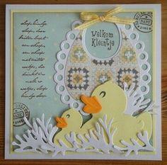 F Marianne Design, Baby Cards, Paper Crafts, Scrapbook, Groot, Ducks, Children, Frame, Card Ideas