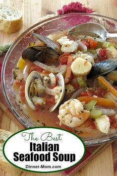 The Best Italian Seafood Soup Recipe is healthy, takes one pot and is low-carb and gluten-free. Perfect for a special dinner, a beach weekend or any time if you are a seafood lover! #seafoodsoup #seafoodrecipes