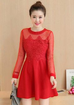 Buy Lace Mesh Embroidered Lace Fit & Flare Dress | mysallyfashion.com Malaysia