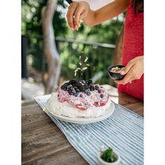 sweet and refreshing Almond and Blackberry Cream Pavlova