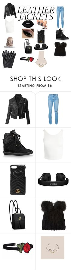 """Leather Leapord"" by taylorsfashionpotion ❤ liked on Polyvore featuring LE3NO, Nobody Denim, Louis Vuitton, Sans Souci, Gucci, Beats by Dr. Dre, Barneys New York and Miss Selfridge"