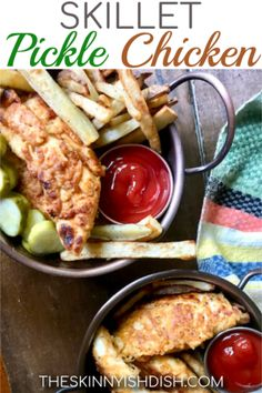 Are you ready for the easiest and dreamiest chicken tender recipe ever? Today, I'm going to share this recipe for Skillet Pickle Chicken with ya! Technically, it should probably be called 'Pickle-Brined Crispy Skinny Recipes, Ww Recipes, Dinner Recipes, Cooking Recipes, Healthy Recipes, Cooking Courses, Skinnytaste Recipes, Skillet Recipes, Skinny Meals