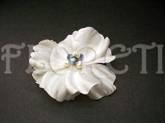 White Silk Rose Hair Flower Bridal Clip Blue Wedding Veil Accessory | Floreti - Wedding on ArtFire. $46.17