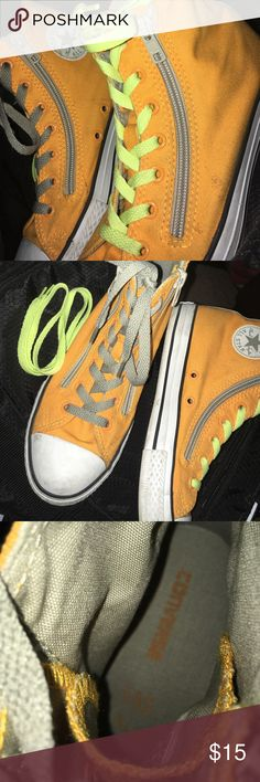 Orange Converse!! quirky orange colored converse sneakers, not sure where the original gray lace went (can buy from any shoe store) but found the Neon Yellow Ones! Converse Shoes Sneakers