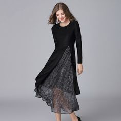 2018 High Quality New 2 Pc Women Dress New Fashion Knitted Spring Summer Black Plus Size L 5XL Lace long Party Split Sexy Dress-in Dresses from Women's Clothing & Accessories on Aliexpress.com | Alibaba Group