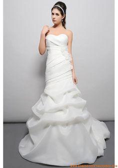 Trumpet/Mermaid Sweetheart Organza Satin Chapel Train White Pick-Ups Wedding Dresses Wedding Dresses 2014, Wedding Dresses Plus Size, Cheap Wedding Dress, Wedding Pics, Designer Wedding Dresses, Bridal Dresses, Wedding Things, Party Dresses, Wedding Blog