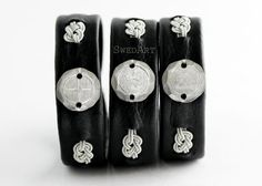 Lapland Sami Reindeer Leather Bracelet Engraved Pewter by SwedArt, $105.00. One-of-a-kind, only have a few.