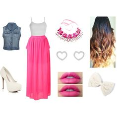 """Pink and cute ♥"" by sofy-styles on Polyvore"