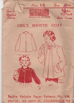 1940s Sewing Pattern Pauline No 151 Childs by jennylouvintage