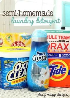 Semi-Homemade Laundry Detergent Recipe #homemade #detergent #laundry by francisca