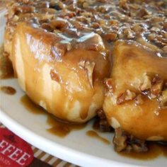 Salted Caramel Pecan Sticky Buns: Soft, sticky, sweet, with a touch of salt and the crunch of pecans, these delightful sticky buns make a special dessert treat. My family absolutely loves them.