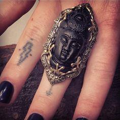 Obsessed! Volcanic Rock.  Obsidian Buddha Ring – Wildflower  finger tattoos.  buddha.