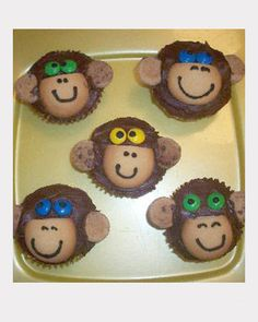 Making these for Morgans party! monkey cupcakes