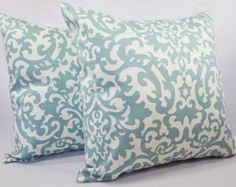 Spa Blue and Beige Pillow Cover One Blue by CastawayCoveDecor