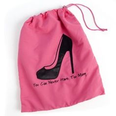 "New Style ""Get Glitzy"" Miamica Embroidered Travel Hot Pink and Black High Heels Shoe Bag Storage Accessories Organizer by MIAMICA. $19.99. Whimsical Embroidery:  ""You can never have too many"". The fashionable way to pack shoes - stores everything from mules to Manolos. Protects your shoes, while keeping the rest of your luggage dirt-free. Interior divider prevents scuffs and scratches. Available in Hot Pink - ideal for travel ; Dimensions: 12""L x .25""W x14""H. Admit it, Girls ..."