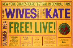Flyer Goodness: 16 Years of New York Theatre Posters by Paula Scher of Pentagram Paula Scher, Shakespeare In The Park, Shakespeare Festival, Joes Pub, New York Theater, Public Theater, Jazz Poster, Book Of The Dead, Creating A Brand