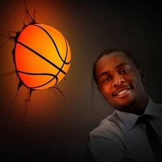 """This is a very """"realistic"""" Wall Deco Light! Looks Like it is Crashing Through the Wall. Boys Basketball Bedroom, Basketball Bedding, Basketball Wall, Basketball Drawings, Basketball Shoes, Basketball Decorations, Boys Room Design, 3d Wall Art, Video Game Rooms"""