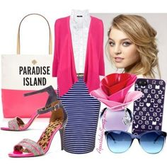 Hot pink waterfall cardigan, royal blue striped pencil skirt, ruffled blouse, striped sandals, Kate Spade handbag, Marc Jacobs iPhone case, messy updo