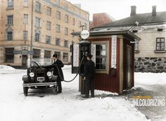 Al Capone, Gas Station, Helsinki, Landline Phone, Finland, Gas Pumps, Postcards, Nostalgia, Colorful