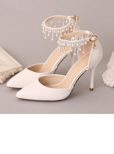 Women s Closed Toe Pumps Stiletto Heel Leatherette Imitation Pearl  Rhinestone No Wedding Shoes f8f346c7281e