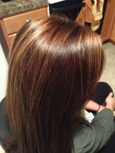 Rich brown hair color with caramel highlights