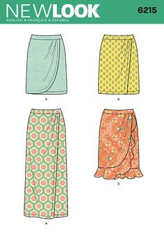 """misses' mock wrap skirt in three lengths - maxi has straight hemline, knee length with either straight or curved variations, plus view d with soft flounce to hit just below the knee. new look sewing pattern.<p> </p><img src=""""skins/skin_1/images/icon-printer.gif"""" alt=""""printable pattern"""" /><a href=""""#"""" onclick=""""toggle_visibility('foo');"""">printable pattern terms of sale</a><div id=""""foo"""" style=""""display:none; margin-top: 10px;"""">digital patterns are tiled and labeled so you can print a..."""