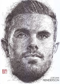 Jordan Henderson : black pen drawing #YNWA : Liverpool season 2016-2017 #Liverpool #TheKopArtsStudio.
