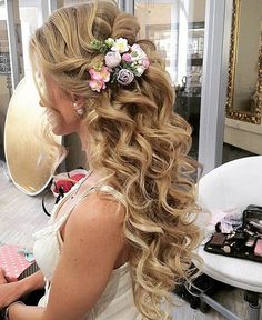 Half Updo Long Curly Hairstyles for Prom