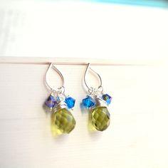 Green peridot earrings with blue swarovski crystals