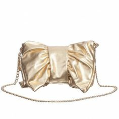 METALLIC TREND 2014??? Miss Blumarine Gold Leather-Look Bow Bag (19cm) ($165+)