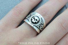 Mini segador anillo calavera plata cráneo anillo pirata gótico