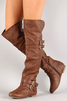 Strappy Buckle Riding Knee High Boot $38