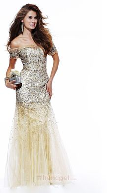 Amazing Trumpet / Mermaid Off-the-shoulder Floor-length Organza Sequined Yellow Evening Dresses