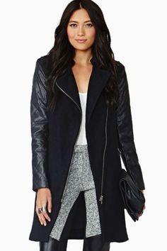 COMBINATION COAT WITH FAUX LEATHER SLEEVES