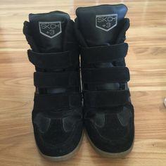 Skechers wedge sneakers Like new black skechers wedge sneakers.  Only worn a couple times. Skechers Shoes Sneakers