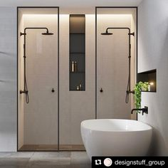 Double shower ideas in this modern and minimalist bathroom design Bad Inspiration, Bathroom Inspiration, Modern Bathroom Design, Bathroom Interior, Bathroom Designs, Minimalist Bathroom Design, Interior Livingroom, Bath Design, Modern Design