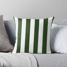 """""""Large Dark Forest Green and White Circus Tent Stripes"""" Throw Pillow by podartist 