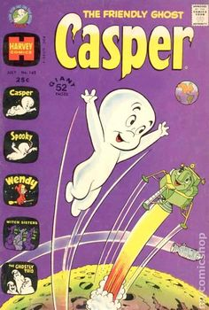 Casper the Friendly Ghost Series Harvey) 162 Old Comic Books, Best Comic Books, Vintage Comic Books, Vintage Cartoon, Vintage Comics, Casper Cartoon, Childhood Characters, Casper The Friendly Ghost, Scary Faces