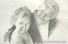 Fête des grands-mères ! Idée cadeau : portrait de famille réalisé à la mine graphite et au fusain.