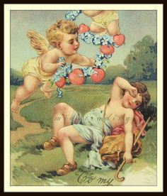 Antique Valentines Day Postcard. Cupid Cherubs. by bohemiantrading