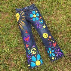 Niño de flor Hippie para niños Jeans pintados a mano de