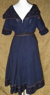 Super Cute Turn of the Century Swimdress - wool, trimmed w cotton