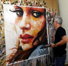 Artist Thomas Saliot, working on his painting. www.thomassaliot.com
