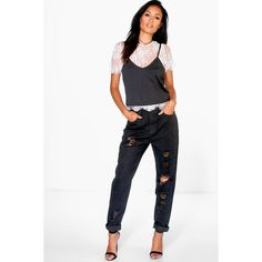 Boohoo Blue Sophie High Waist Distressed Hem Jeans (€39) ❤ liked on Polyvore featuring jeans, black, high waisted ripped jeans, boyfriend jeans, destroyed boyfriend jeans, ripped jeans and skinny jeans