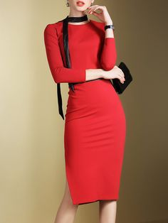 Shop Midi Dresses - Red Two Piece Plain Sexy Polyester Midi Dress online.  Discover unique ce3964d325b