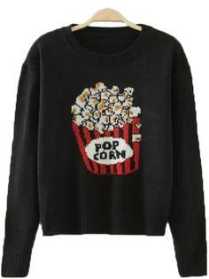 Black Round Neck Long Sleeve Popcorn Pattern Casual Sweater 21.83