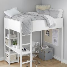 Loft Beds For Small Rooms, Loft Beds For Teens, Cool Loft Beds, Bunk Beds For Girls Room, Bunk Bed Rooms, Loft Bunk Beds, Cute Beds For Girls, Teen Loft Beds, Small Loft Bedroom