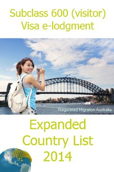 Around 190 countries and territories now have the ability to apply online for an Australian visitor visa using the e-lodgement system. These applications apply to the subclass 600 (Visitor) visas in the Tourist, Sponsored Family or Business visitor streams.