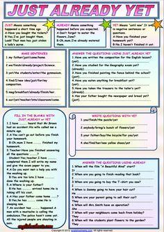 Just Already Yet ESL Grammar Exercises Worksheet